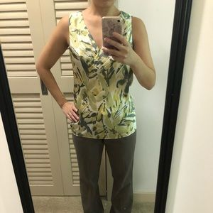 Banana Republic green and yellow sleeveless top